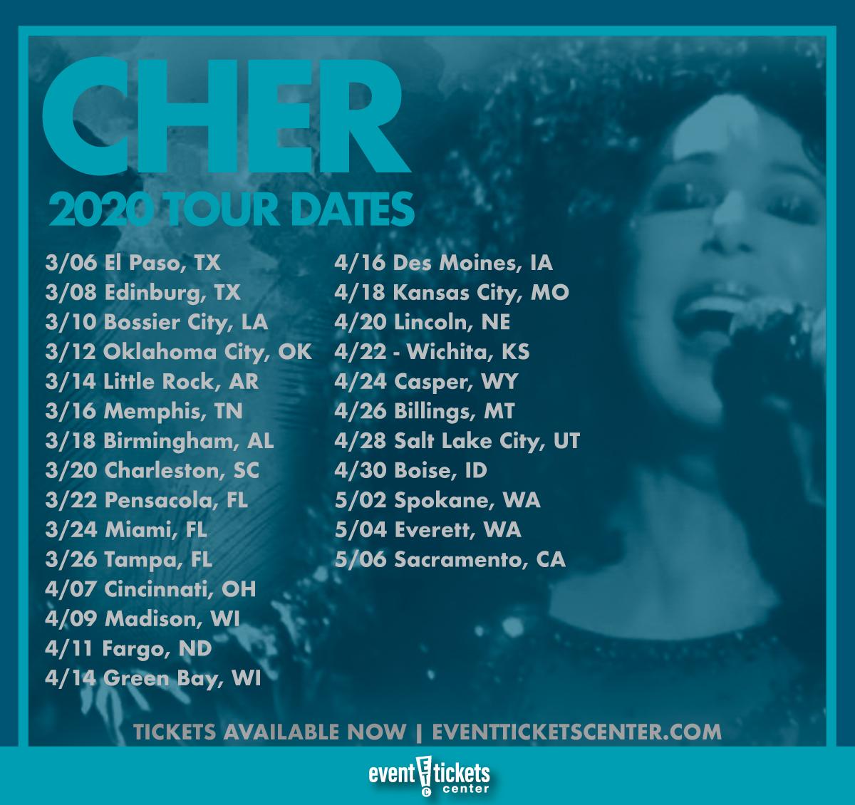 cher concert schedule 2020