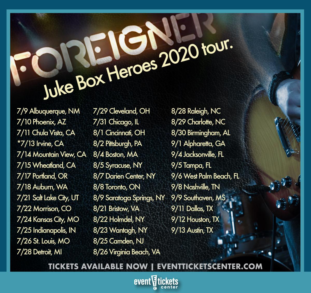 Concert Tour: Foreigner With Kansas Juke Box Heroes Tour
