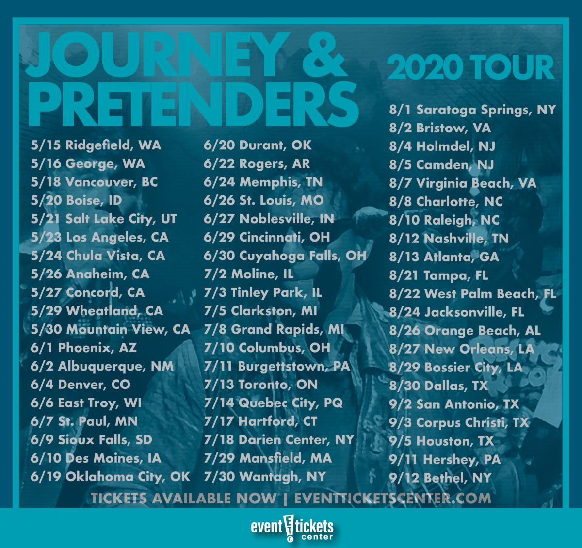 Journey 2020 Tour.Journey And Pretenders Unite For Massive 2020 Tour
